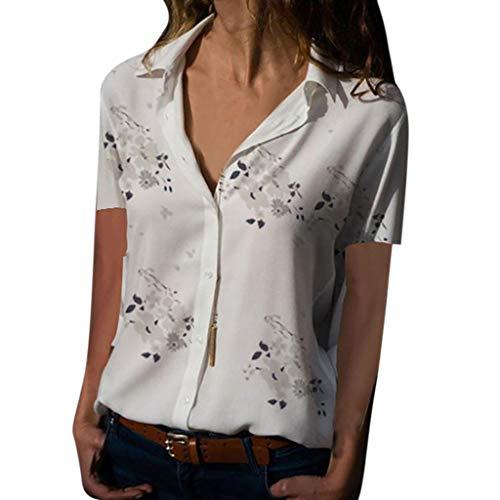 Kviklo Deman Plus Size Tops Hemd Geblümt Leopard Druck langarmKurzarm Loose Button Bluse(5XL(50),Weiß-Kurzarm) -