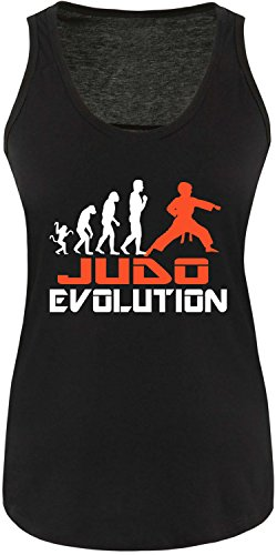 EZYshirt® Judo Evolution Damen Tanktop Schwarz/Weiss/Orange