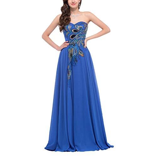 Defect Abend-Kleid Bestickt Pfau Abendkleid Mop Boden langes Abendkleid Formale Cocktail Party Chiffon Kleid