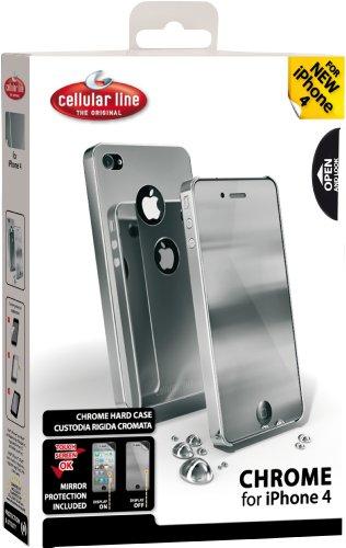 Cellular Line CHRMiPhone4DG Custodia Cromata per iPhone 4, Grigio Grigio
