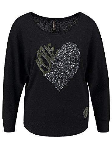 Key Largo Damen Langarmshirt WLS Beat Longsleeve Love Liebe Herz Stickerei Glitzer Look Schwarz