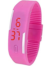 Snapcrowd Digital Pink Color Silicone Digital LED Band Wrist Watch For Boys, Girls, Men, Women - B07H7G46VJ