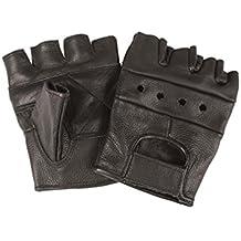 Miltec - Mitones (100% piel, talla grande, aptos para usar en exteriores, en moto, conducción y bicicleta, así como para airsoft y paintball), diseño al estilo del ejercito de EE.UU., color negro