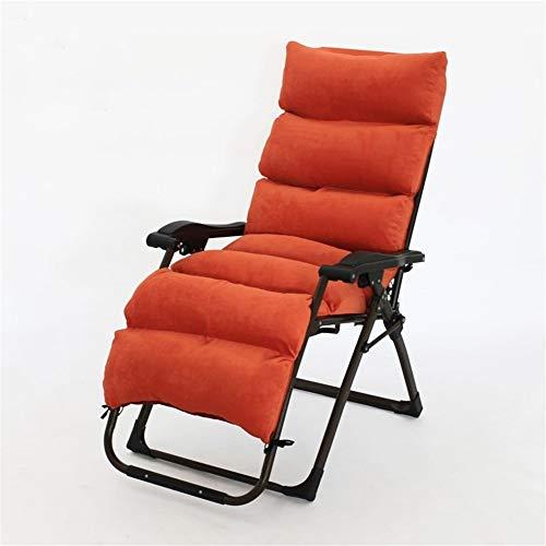 DQCHAIR Patio-Stühle, die mit Kissen für schwere Leute stützen, die im Freien Schwerkraft-Chaise-Lounges liegen, die faltenden Gartenstuhl-Unterstützung 260kg stützen (Color : Orange)