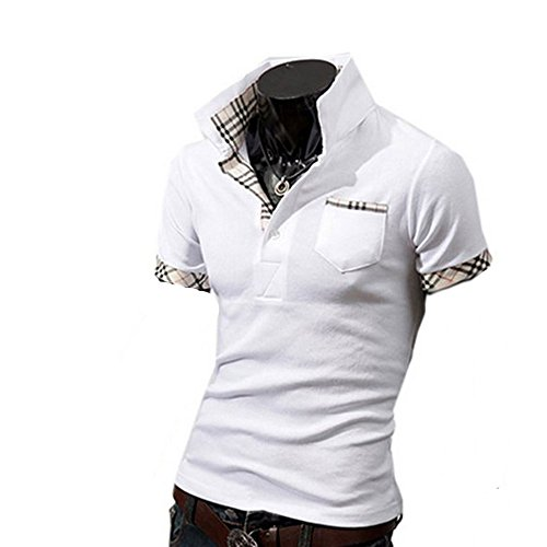 Herren Poloshirt Slim Fit Kurzarm Polo Shirt Weiß
