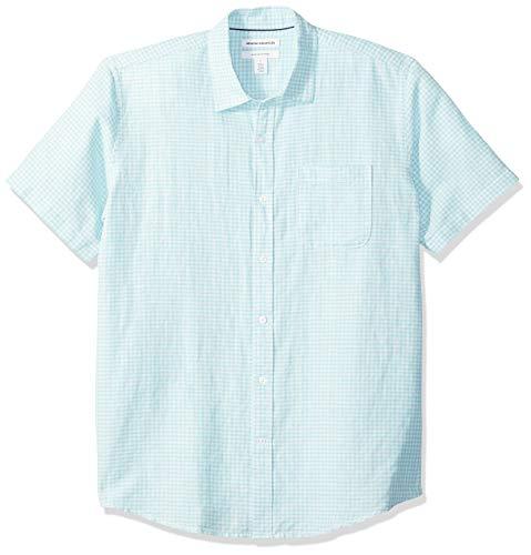 Amazon Essentials Regular-Fit Short-Sleeve Print Linen button-down-shirts, Aqua Gingham, US L (EU L) -