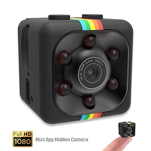 HD Night Vision Mini Kamera - Mini Spy versteckte Kamera Sicherheit Nanny Dash Cam mit Bewegungserkennung und Nachtsicht, Full HD 1080p klein und tragbar Indoor / Outdoor für Zuhause, Auto und Büro (Schwarz) (Geheimen Für Autos Kamera)