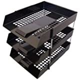 3 x BLACK IN/OUT LETTER FILING TRAYS WITH RISERS 8 NOS