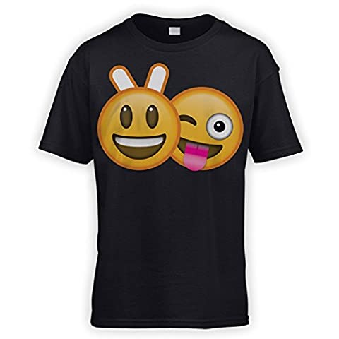 Bunny Ears Emoji Kids T-Shirt [Black