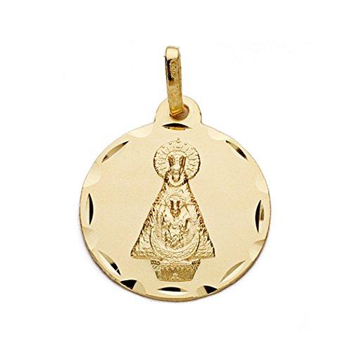 Medalla Oro 18K Virgen De Tiscar 18mm. [Aa0608Gr] - Personalizable - Grabación Incluida En El Precio