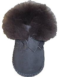 Plateau Tibet - Chaussons Bottines pour bébé avec doublure en VERITABLE laine d'agneau - HuggB - Gris