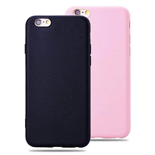 SMARTLEGEND 2x Candy Case per iPhone 6 iPhone 6S, Gomma Morbido TPU Cover Bumper, Soft Flessibile Protettiva Durevole Shock Assorbimento Caso con Modello di Seta - Colore Nero + Rosa Caldo