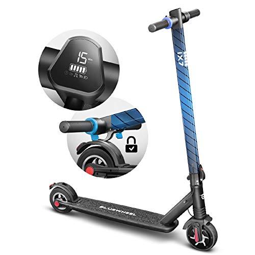 Marktneuheit 2019! Elektroscooter IX7 von Bluewheel + LCD-Anzeige, futuristischer Design-Cityroller nur 9,2 kg, klappbarer E-Scooter mit Front-Federung, Li-Ion Akku, E-Roller für Erwachsene und Kinder