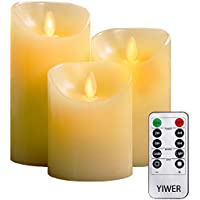 "YIWER LED candles,Flameless Candles 4""5""6""Real Wax Battery Candle Pillars, 10 Key Remote Control with 24 Hour Timer Function(Ivory,3)"