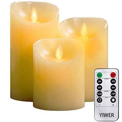 YIWER LED Velas sin Llama Φ 8CM x H 10cm/12CM/15CM Juego de 3 Pilas de Cera Real no de plástico 10 Teclas con 2/4/6/8 Horas Función del Temporizador 300+ Horas -(3x1, Marfil)