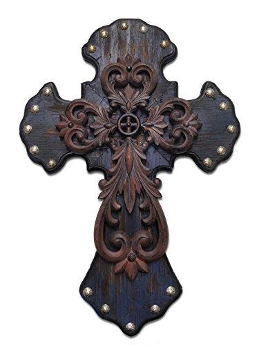 HiEnd Akzente Western Nieten Holz Kreuz mit Metall Kreuz Overlay - Overlay Kreuz
