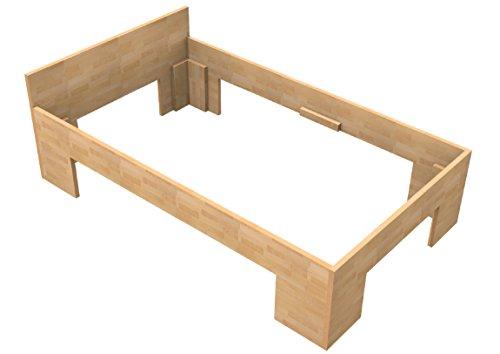 Baßner Holzbau 27mm Echtholzbett Massivholzbett Buche 100x200 Fuß II 49cm Rahmenhöhe