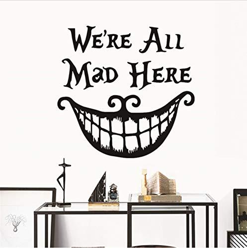 Weihnachtsdekoration Halloween Wandaufkleber Abziehbilder wir sind alle verrückt hier Zitate Vinyl lustige Aufkleber Lächeln Gesicht großen Mund Dekoration (Halloween-lustige Sprüche Zitate,)