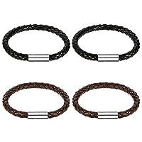 AIM Cloudbed 4Pack Men Leather Bracelet Wax Rope Braided Men
