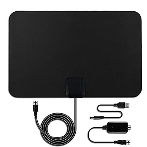 Indoor TV Aerial,Aizbo® 50 Miles Range Ultra ThinDigital HDTV Antenna with Detachable Amplifier Signal Booster for Digital Freeview and Analog TV Signals, Super Soft TV Aerial Window Aerial,VHF / UHF / FM,1080p Full HD (Transparent,Power Adapter Not Include)