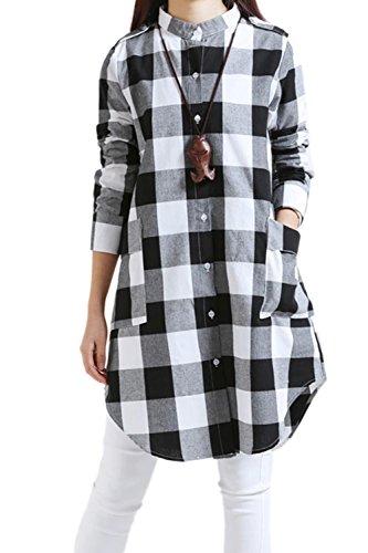Les Femmes Vintage Manches Longues Coton Écossais De Poches De Poitrine Unique Robe Ajustée Xxl white