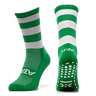 Atak Unisex's Grip Mid Leg Socks, Green with White Hoops, 6-8