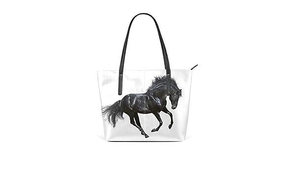 Noir Personnalisé Cheval Noir animal sac à main 038