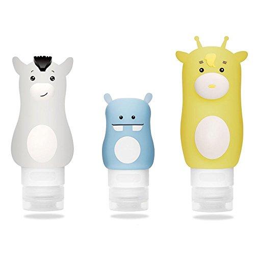 ONEGenug Silikon Reise Flaschen 3-er Set BPA Frei nachfüllbare Reise-Zubehör für Shampoo,...