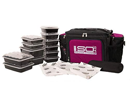Isolator Fitness 2. Generation Isobag 6 Mahlzeiten Management System/Violetter Akzent/Schwarz/Isolierte Mahlzeiten-Kühltasche