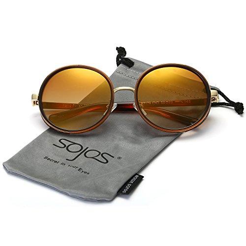 SOJOS Retro Gothic Steampunk Runde Blingbling Verspiegelt Sonnenbrille Damen SJ2022 mit Braun Rahmen/Gelb Linse