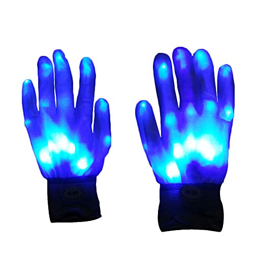 CTGVH Bunte Blinkende Handschuhe, Leuchtende LED-Handschuhe für Partys, Festivals, Halloween, Clubs ()