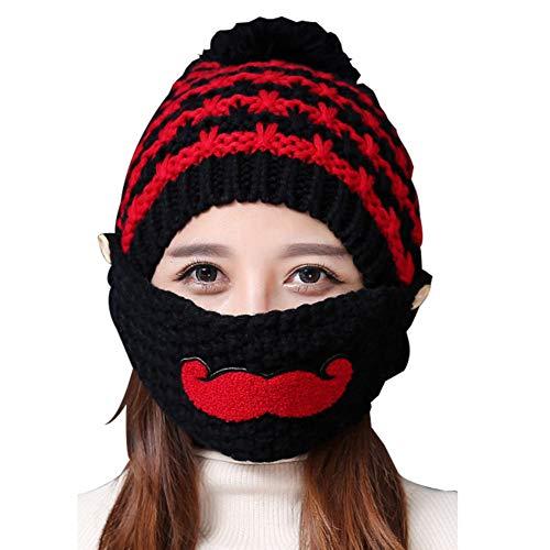 AchidistviQ Lovely Beard Damen Outdoor Winter Warm Strickmütze Mund Maske Schal Set Schwarz (Batgirl Maske Rosa)