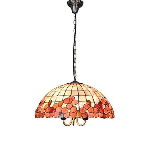 Tiffany Style Hängelampe Lamp 18 Zoll Bunte Muschel Blumenmuster Pendelleuchte Schirm 3 Leuchte für Esszimmer Wohnzimmer Schlafzimmer