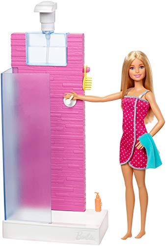 Barbie FXG51 - Deluxe Set Möbel Badezimmer und Puppe mit funktionierender Dusche, -