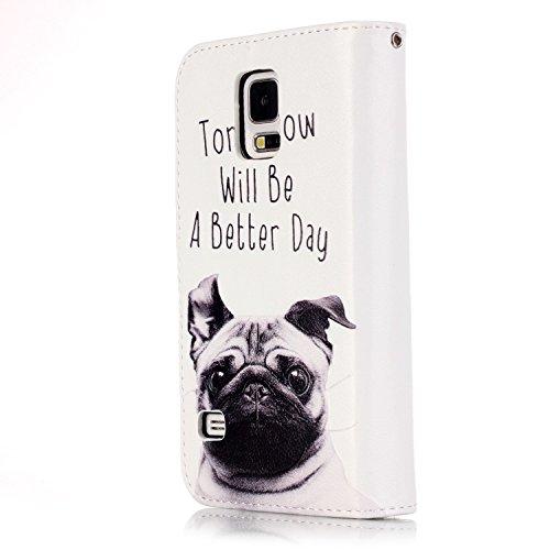 Custodia Samsung Galaxy S5, Sunroyal® Custodia in Pelle, in Piedi la Vista Diario Custodia Copertura di Vibrazione Portafoglio Flip Cover con Chiusura Magnetica per Samsung Galaxy S5 S V I9600 / S5 Ne Modello 11
