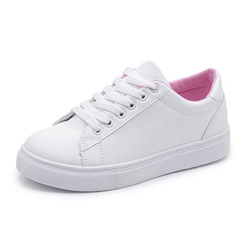 Wuyulunbi@ Primavera e autunno bianco scarpe sportive Calzature scarpe piatte Foglio rosa