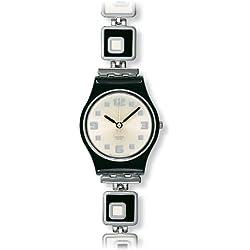 Swatch Chessboard Lb 160G - Reloj de mujer de cuarzo, correa de acero inoxidable color plata