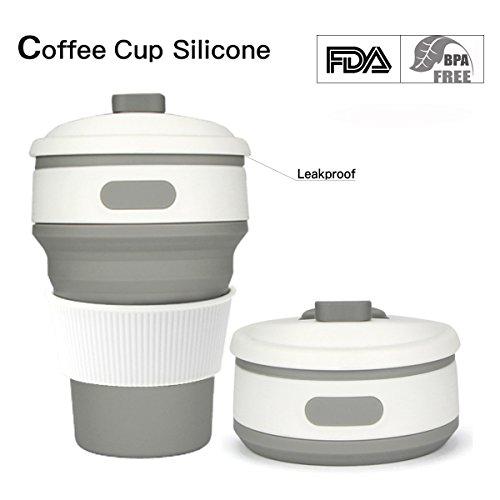 Mug Isotherme, Tasse Licorne Mug Harry Potter 350ml Tasse Café Pliable Portable Étanches pour Voyage Randonnée (Gris)