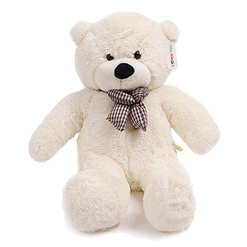 120 cm gigante teddy oso de peluche con adorno de nudo animal de felpa blanco