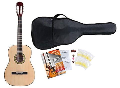 Classic Cantabile Acoustic Series AS-851-L guitare de concert 3/4 pour gauchers Starter-SET