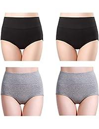 af3e6e1a272 wirarpa Ladies Underwear Cotton Full Briefs High Waist Knickers Tummy  Control Underwear Panties for Women Multipack