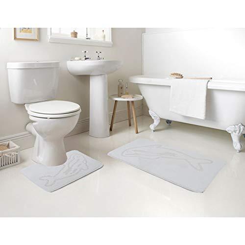 AHOC Badvorleger,Badematten, Badezimmermatten 2-teilig, Badteppich 2er-Set 100% Polypropylen Waschmaschinen geeignet und antiallergisch in vers. Farben und Muster (Waschbar bis 30°) (Delphin, weiß)