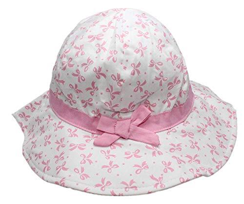 Ruhi Kinder Mädchen Blumen Schleife Eimer Sun Hut mit Kinnriemen - Rosa Band Breite Krempe, 6-12 Months