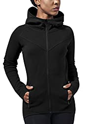 Urban Classics Damen Ladies Athletic Interlock Zip Hoody Kapuzenpullover, Schwarz (black 7), Medium