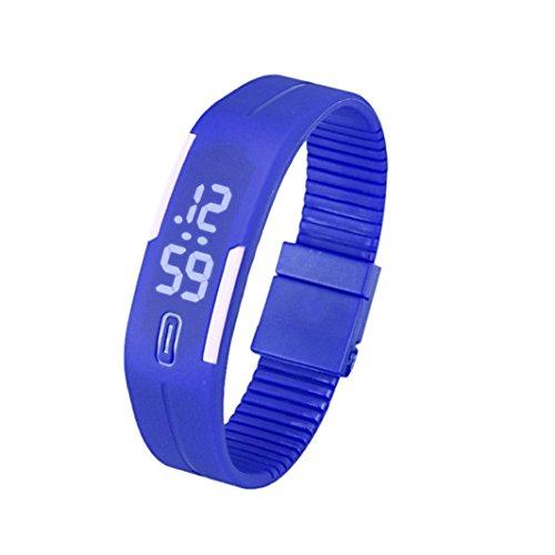 Orologio da polso, JiaMeng ❀ Tendenza della moda orologio LED neutro Delle donne degli uomini di gomma del orologio della data di sport del braccialetto di orologio da polso (5 * 1.8cm, B)