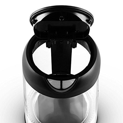 Klarstein Tiefblau Wasserkocher Wasserkessel (2200 Watt, 1,7 Liter, blaue LED-Beleuchtung, Cool-Touch-Griff) schwarz-silber - 5