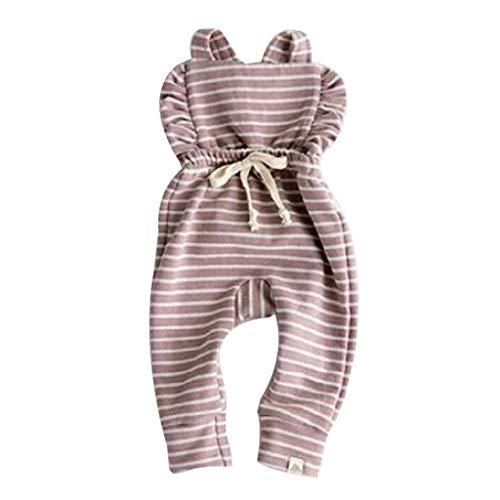 LEXUPE Neugeborenes Baby Backless gestreifte Rüschen-Spielanzug-Overall-Overall-Kleidung(Lila,90)