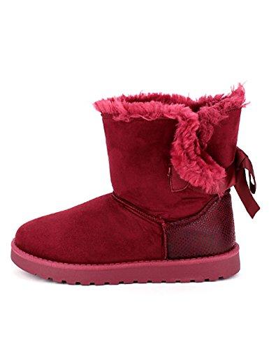 Cendriyon Boots Fourrées Bordeaux Camelia Chaussures Femme