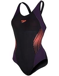Speedo Damen Fit Splice Muscleback Badeanzug, Black/Deep Peri/White, One Size