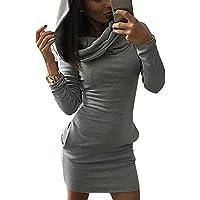 Minetom Donna Autunno Casual Maniche Lunghe Tasca Slim Felpa con cappuccio Pullover Giacca Outwear